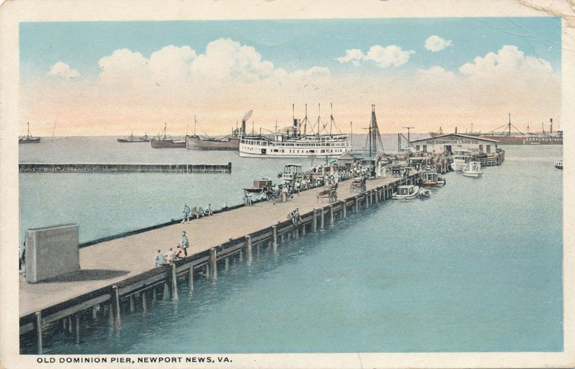 Old Dominion Pier - Dock at Newport News, Virginia - White Border
