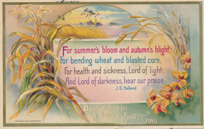 Thanksgiving Greetings and Best Wishes - Poem by J. G. Holland - pm 1910 at Flushing NY - John Winsch - Divided Back