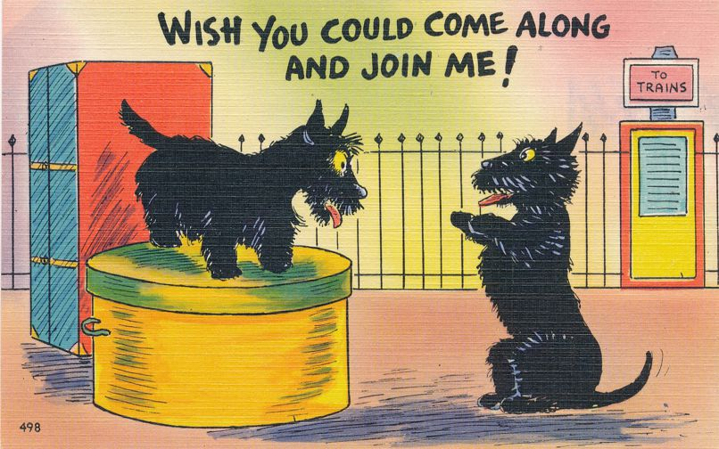 Dog Humor - Wish you could come along and join me (On Train) - Linen Card