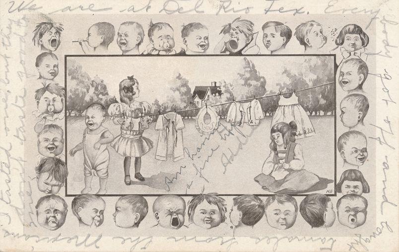 Multiple Babies Greetings Fantasy - Border of Baby Faces - RPO 1907 Houston & El Paso - Undivided Back