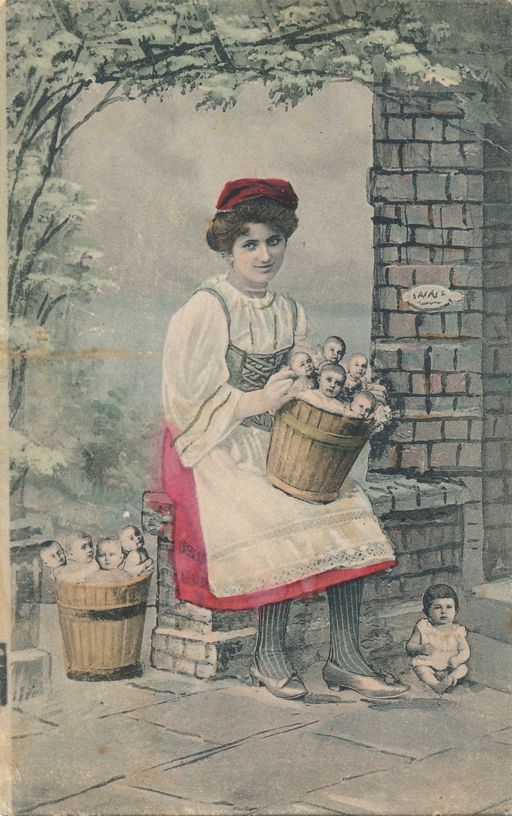 Multiple Babies Greetings Fantasy - Lady with Buckets of Babies - K.V.i.B - Divided Back