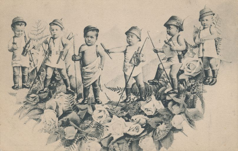 Multiple Babies Greetings Fantasy - Explorers and Hunters on Flower Bed - GL Co.  - Undivided Back