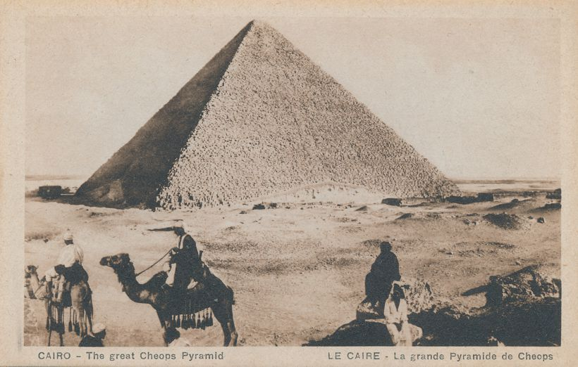Camels and The Great Cheops Pyramid - Cairo, Egypt - Divided Back