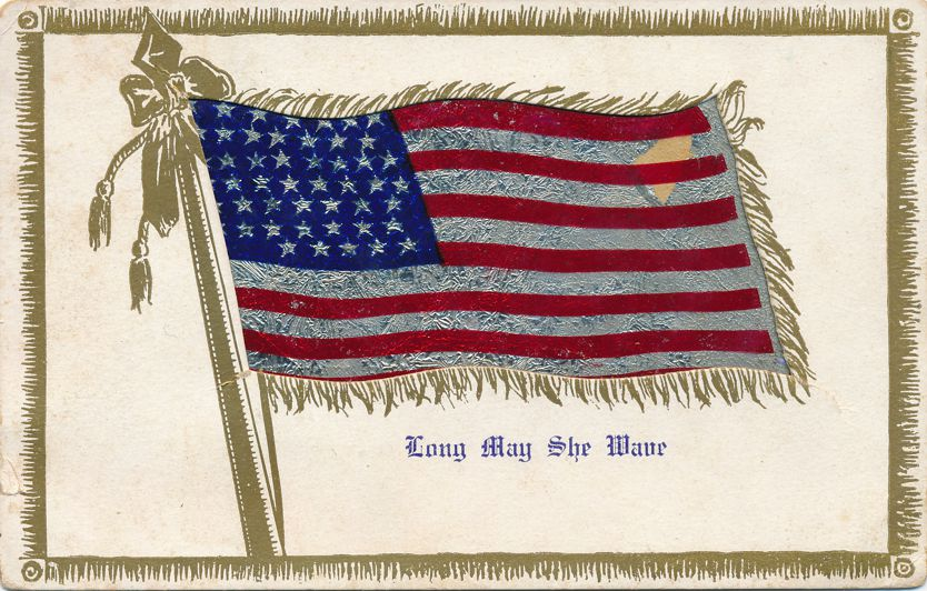 United States Flag Day Greetings - Long May She Wave - Divided Back