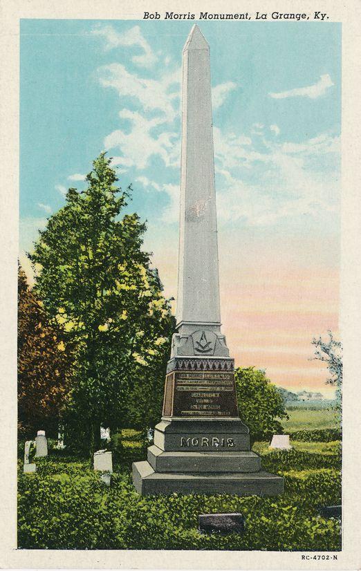 Bob Morris Monument at La Grange, Kentucky - Founder of Order of Eastern Star - White Border