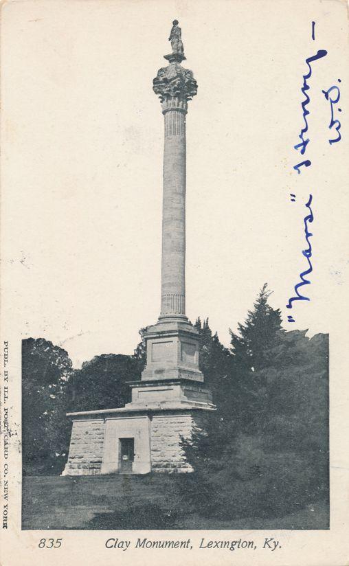 Henry Clay Monumnet, Lexington, Kentucky - 1904 RPO NY & WASH - Undivided Back