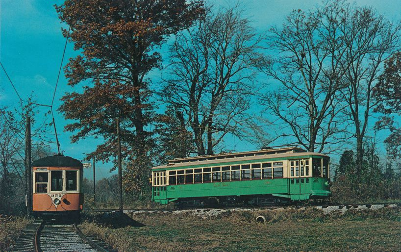 Johnstown PA Car 352 and Wash DC Car 766 - Now at Trolley Museum near Layhill, Maryland