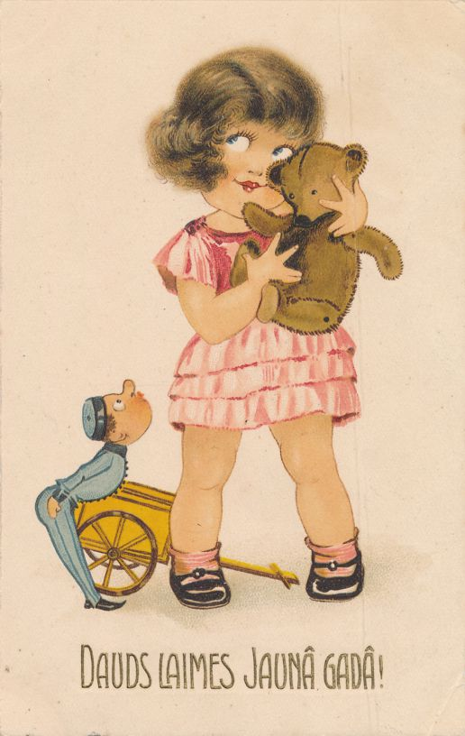 Dauds Laimes Jauna Gada - Good Luck in the New Year - Greetings - Girl and Teddy Bear - Divided Back
