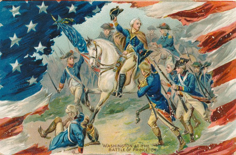 Greetings on Washington's Birthday - Battle of Princeton Painting - Divided Back - Tuck