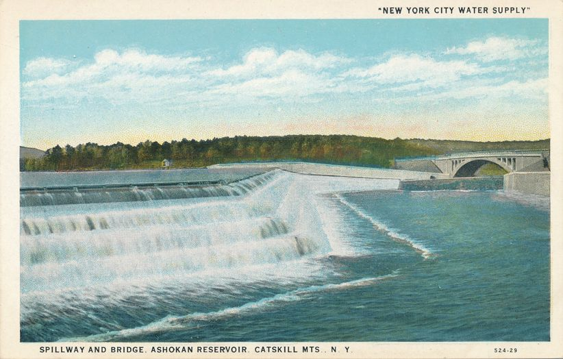 Spillway and Bridge at Ashokan Reservoir, New York - White Border