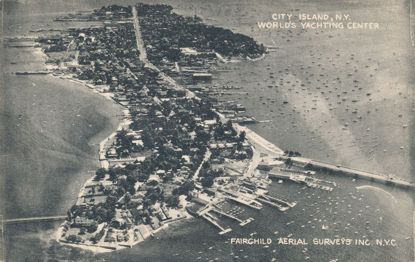 Aerial View of City Island, New York - World's Yachting Center