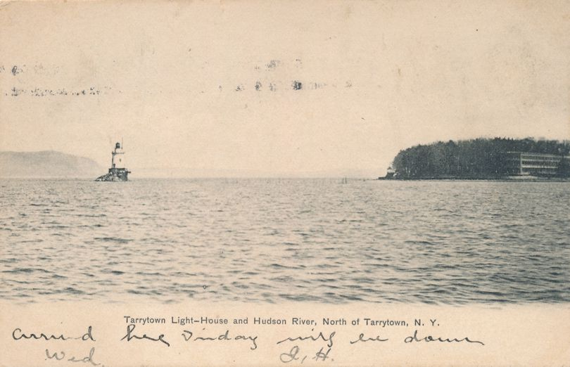 Light and Lighthouse on Hudson River north of Tarrytown, New York - Undivided Back