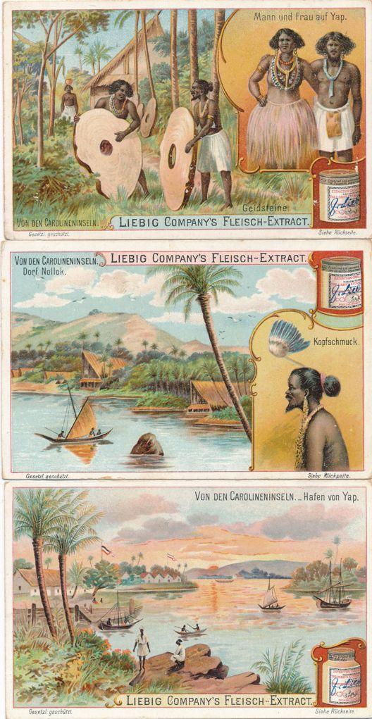 (6 cards) Victorian Trade Cards Caroline Islands Views (Micronesia) - Liebig Co. of Belgium