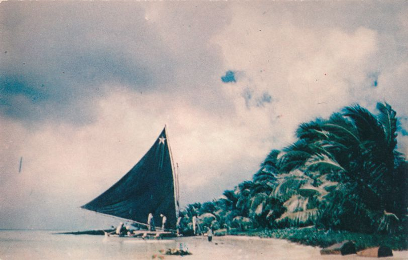 Sailing Canoe on Truk Atoll - Chuuk Micronesia - Formerly Trust Territory of Pacific