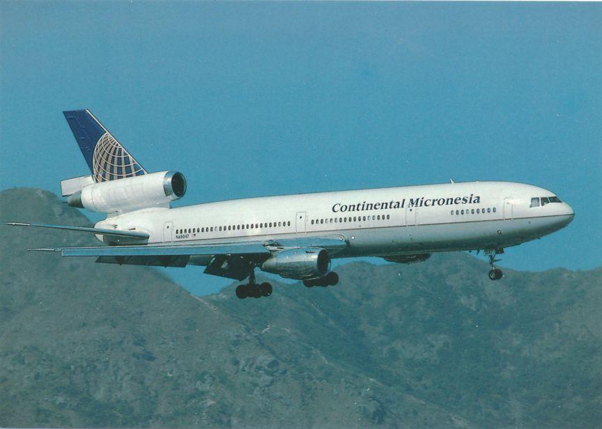 Continental Micronesia MCD Douglas DC-10-10 seen over Hong Kong - Aviation
