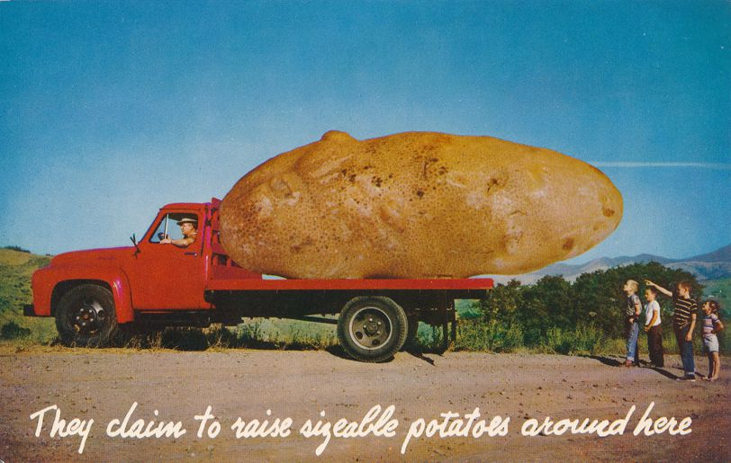 Exagerrated Potato on Flatbed Truck - We grow them big here - Roadside