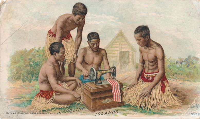 Victorian Trade Card - 1894 Singer Sewing Machine - Caroline Islands now Micronesia