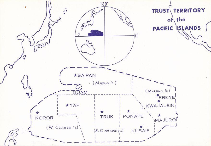 Trust Territory of the Pacific Map - Marianas Yap Palau Truk Ponape