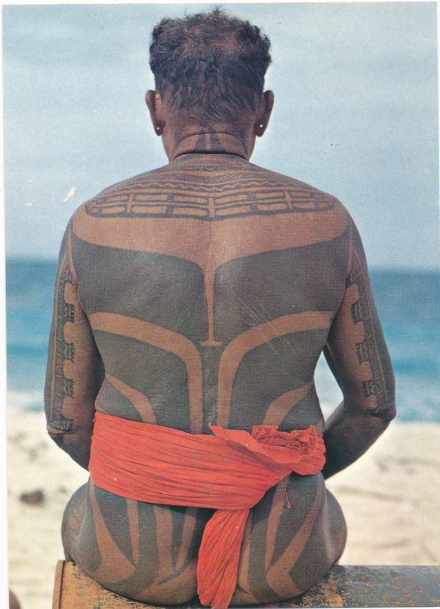 Tattood Chief in Native Dress - Ulithi Atoll, Yap Islands, Micronesia