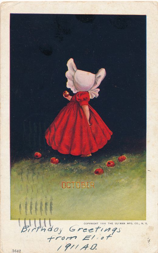 October Greetings - Unsigned Bernhardt Wall Sunbonnet Month Series - pm 1911 at New York City - Undivided Back