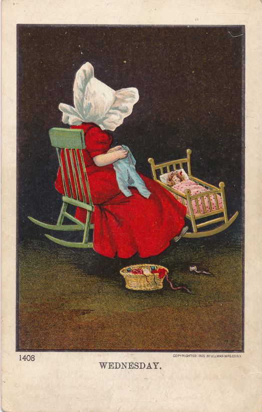 Wednesday Greetings - Unsigned Bernhardt Wall Sunbonnet Day of Week Series - pm 1906 at Muncy PA - Undivided Back