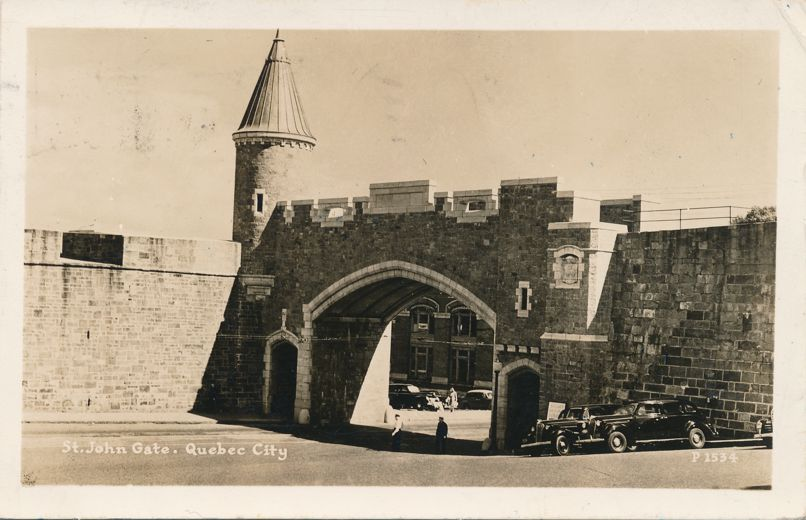 RPPC St. John Gate - Quebec City, Quebec, Canada - Sightseeing Autos on Right - pm 1948 - Real Photo