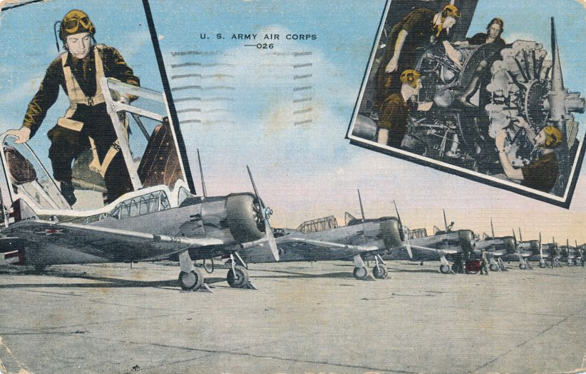 U. S. Army Air Corps - Aviation Military WWII - pm 1949 at Batavia NY - Linen Card