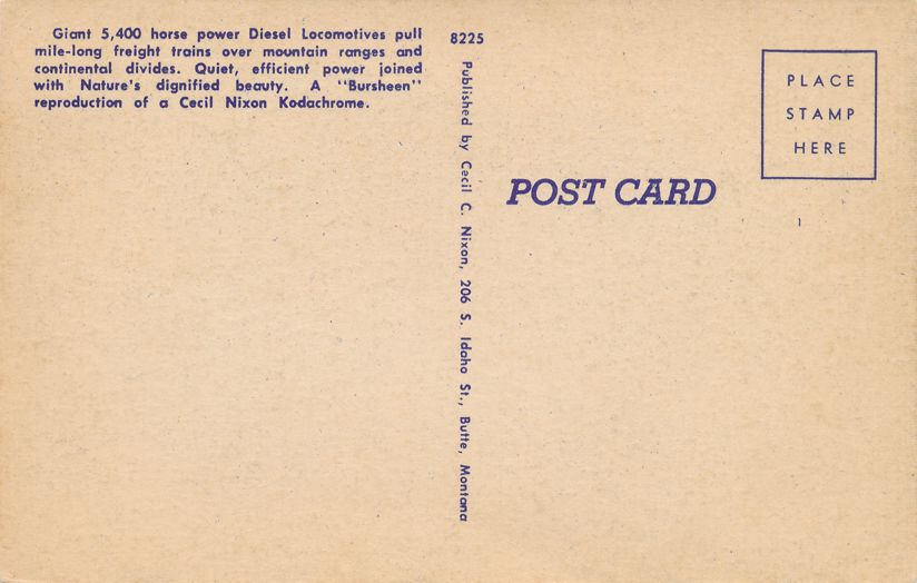 Four Diesel Freight Motors hauling Freight Trains over Continental Divide - Linen Card