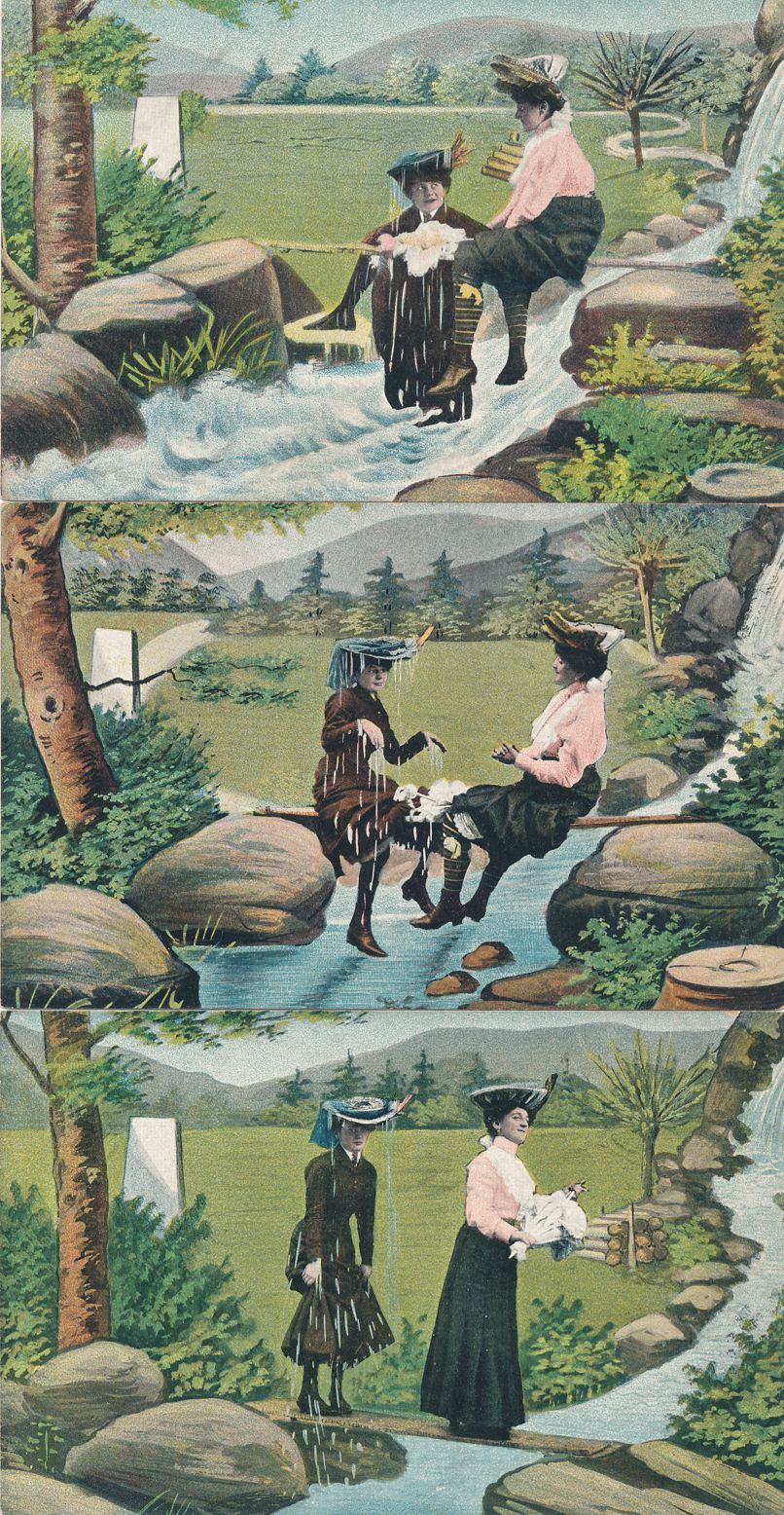 (6 cards) Sequence of Ladies Falling off Bridge into Creek and Recovery - Undivided Back