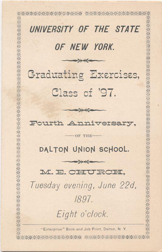 University of New York Class of 1897 - Methodist Church, Dalton, New York
