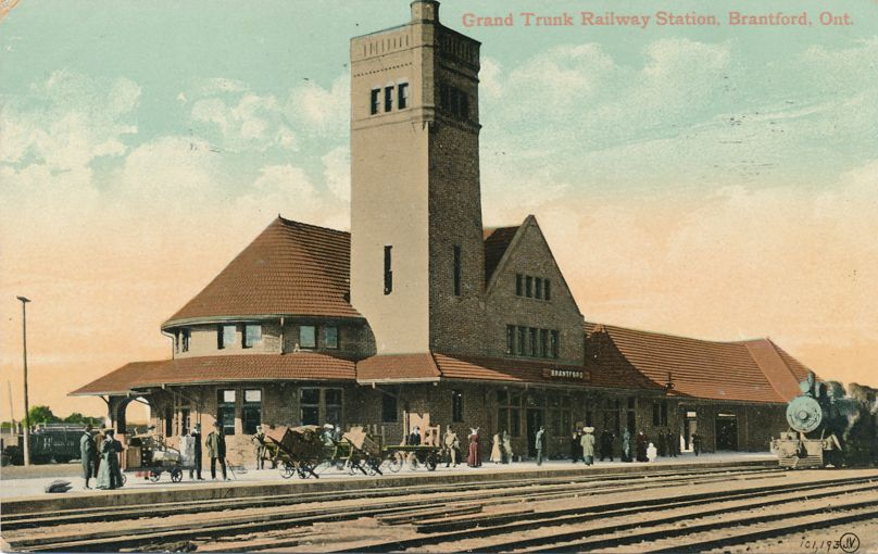 Grand Trunk Railway Station - Brantford, Ontario, Canada - pm 1910 at Brooklyn NY - Divided Back