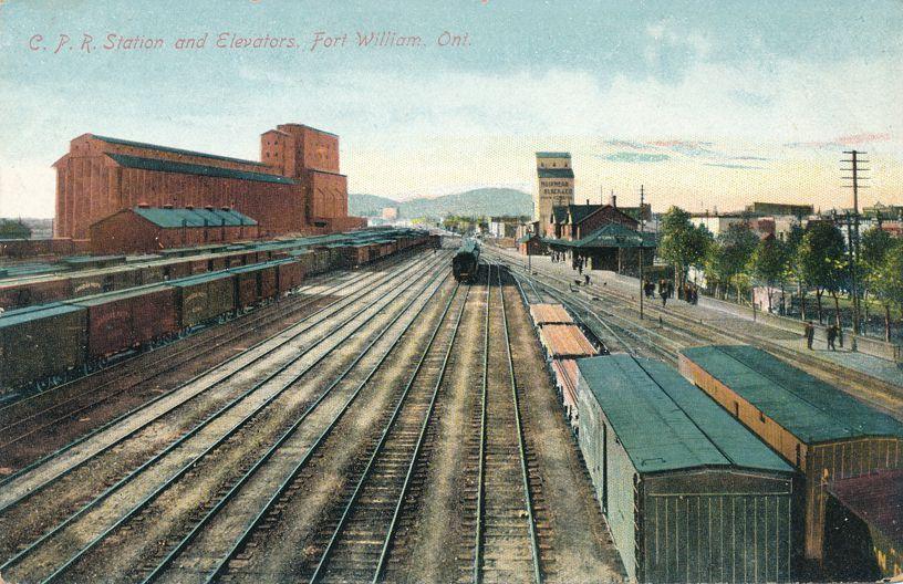 CPR Railway Station, Tracks, and Grain Elevators - Fort William, Ontario, Canada