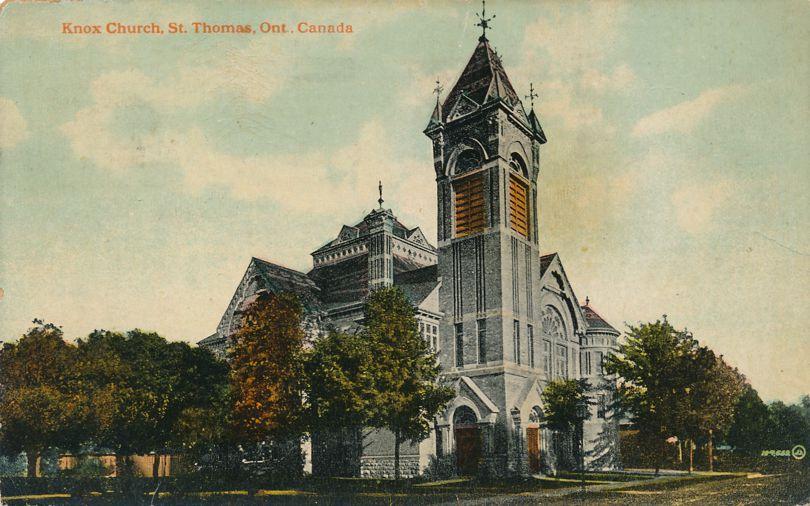 Knox Church at St Thomas, Ontario, Canada - pm 1919 - Divided Back