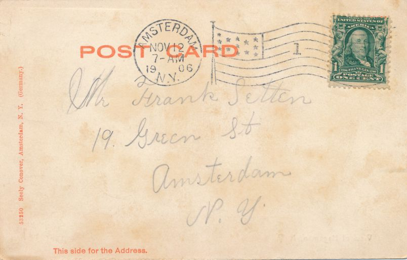 Electric Rail Trolley at Hagaman, Montgomery County, New York - pm 1906 at Amsterdam NY - Undivided Back