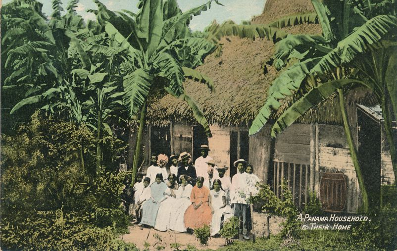 Thatched Roof Home of Family - Household - Panama, Central America - pm 1909 at Martville NY - Divided Back