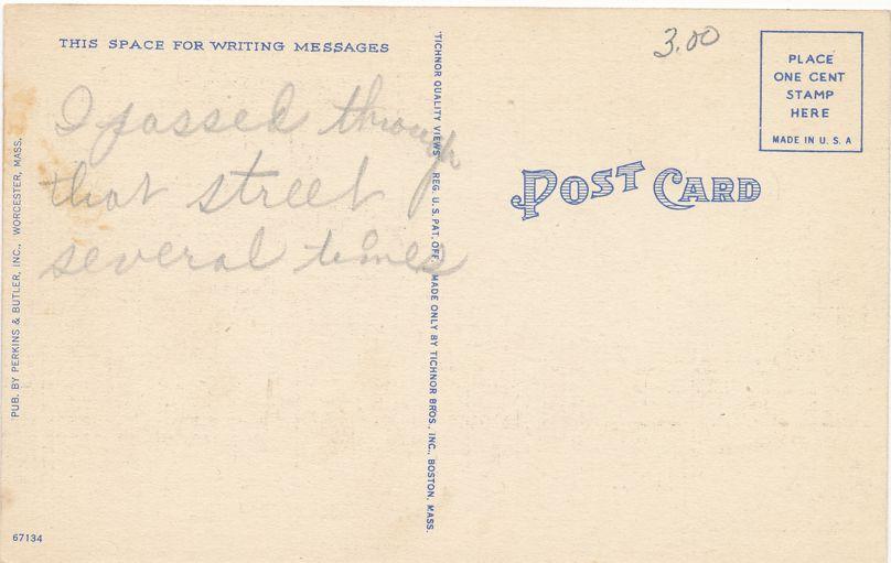 Armory - Women's Club - High School - Worcester, Massachusetts - Linen Card
