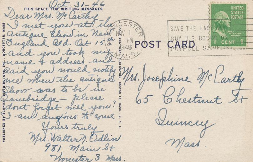Bancroft Tower at Worcester, Massachusetts - pm 1946 - Linen Card