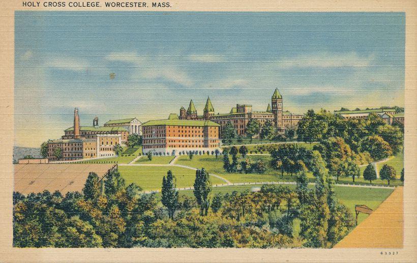 Holy Cross College - Worcester, Massachusetts - Linen Card
