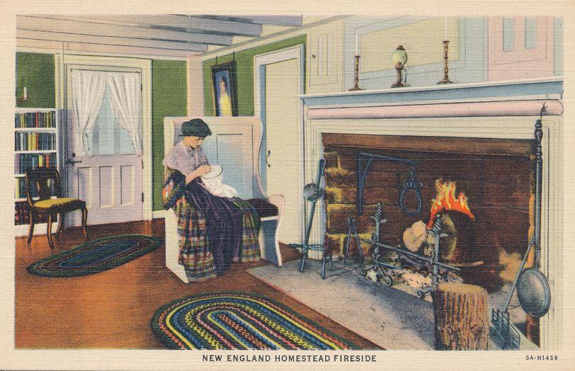 Fireside at a New England Homestead - Linen Card
