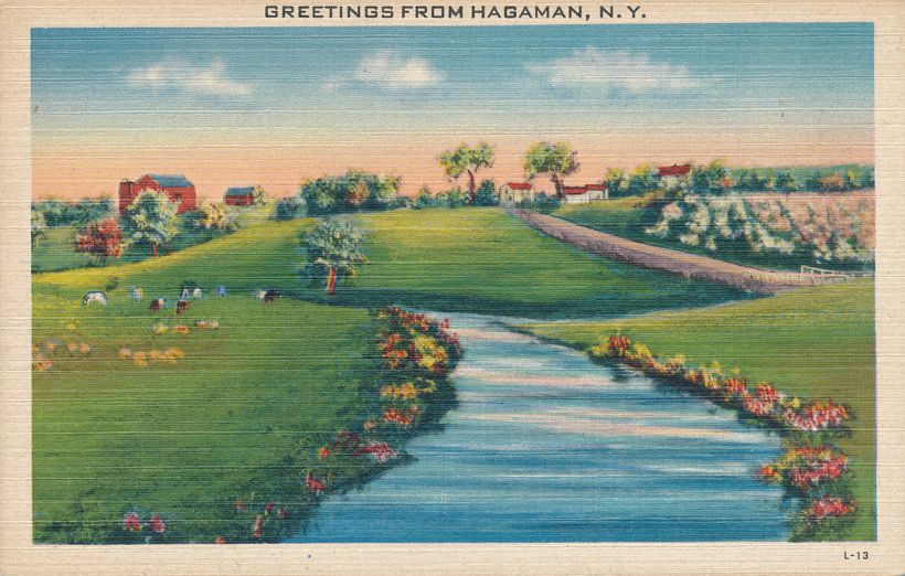 Farm View and Greetings from Hagaman - Montgomery County, New York - Linen Card
