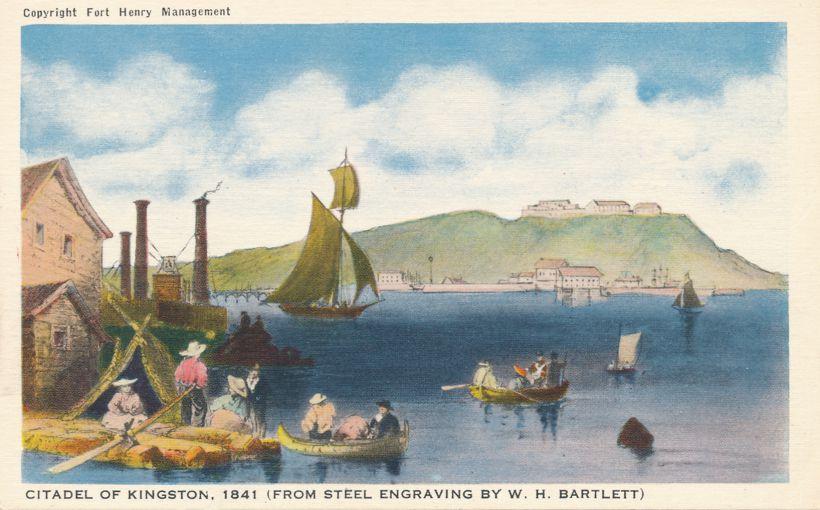 Citadel of Kingston 1841 (from Bartlett Engraving) - Ontario, Canada - White Border