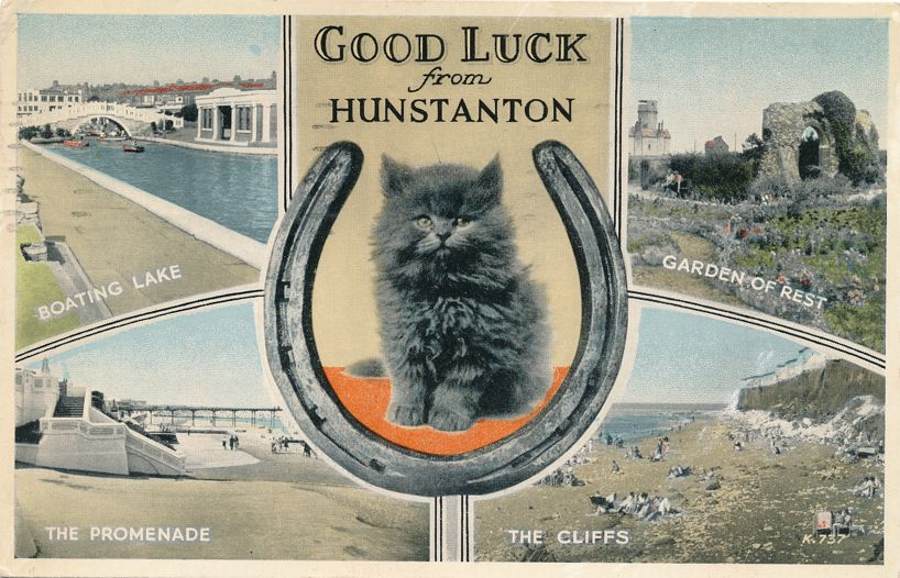 Good Luck Cat and Horseshoe from Hunstanton, Norfolk, United Kingdom - pm 1954