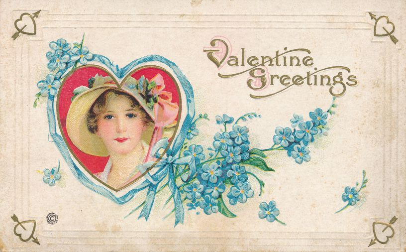 Valentine Greetings - Lady in Fancy Hat - Stetcher Litho - pm 1924 at Pittsford NY - Divided Back