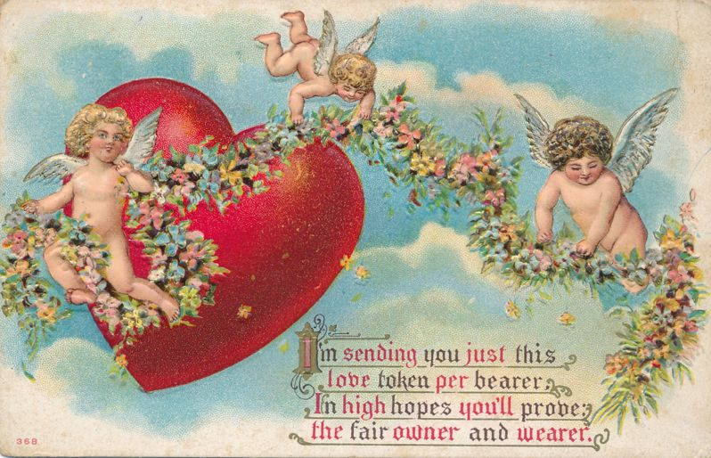 Valentine Greetings - Cherubs with Love Token - pm 1911 at Fairport NY - Divided Back