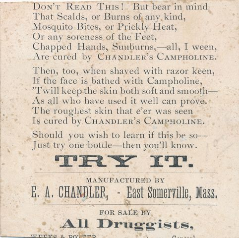 Chandler's Campholine Victorian Trade Card - East Somerville, Massachusetts