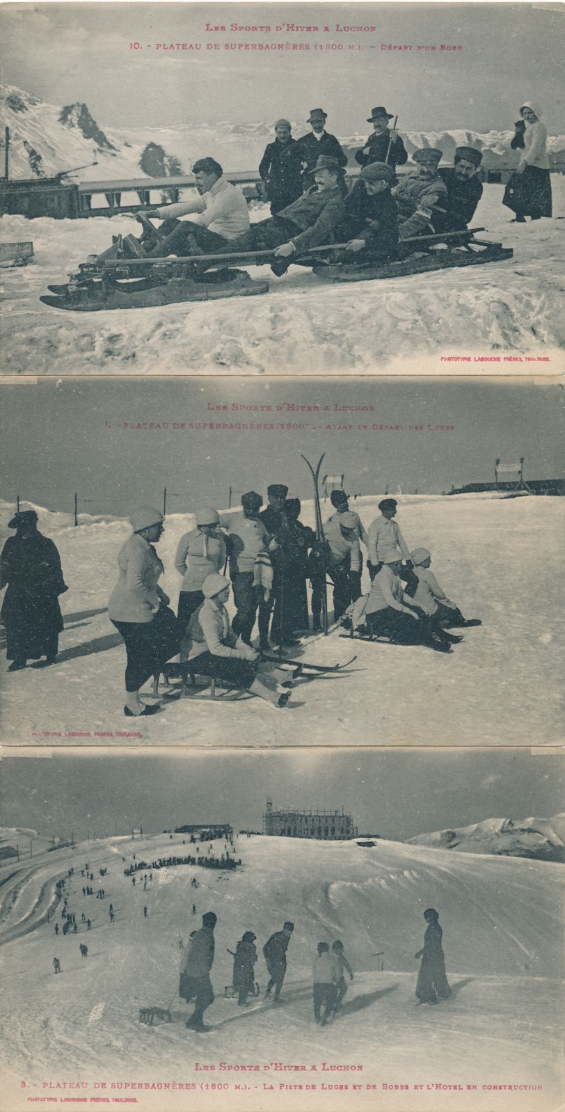 (3 cards) Winter Sports Toboggan Ski Sled - Plateau Superbagneres near Luchon, France - Divided Back