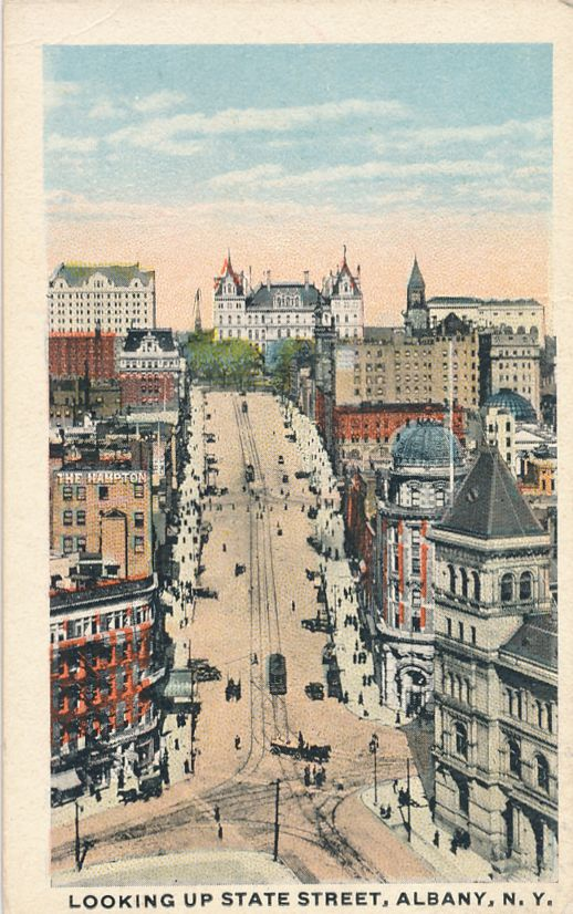 Looking Up State Street - Albany, New York - Mini Card 3.5 x 2.25 inches - White Border