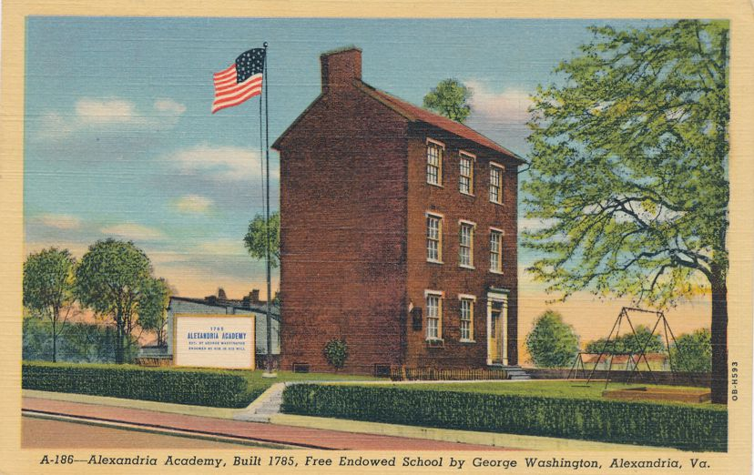 Alexandria Academy endowed by George Washington - Alexandria, Virginia - Linen Card