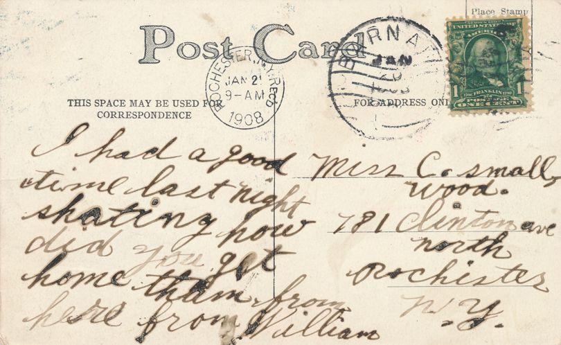 Winter Scene - Mailed to Rochester NY - DPO 1908 at Barnard Ny - Divided Back