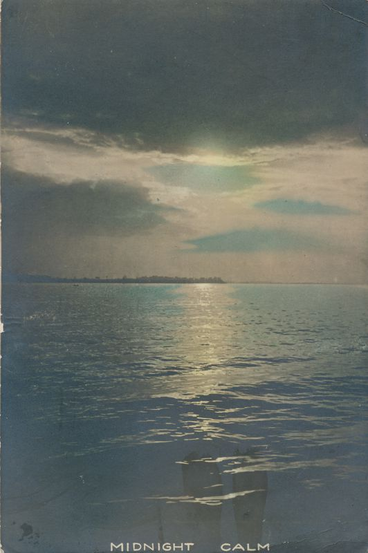 RPPC Midnight Calm - Moonlight over Lake - Mailed at Rochester NY - pm 1920 - Real Photo
